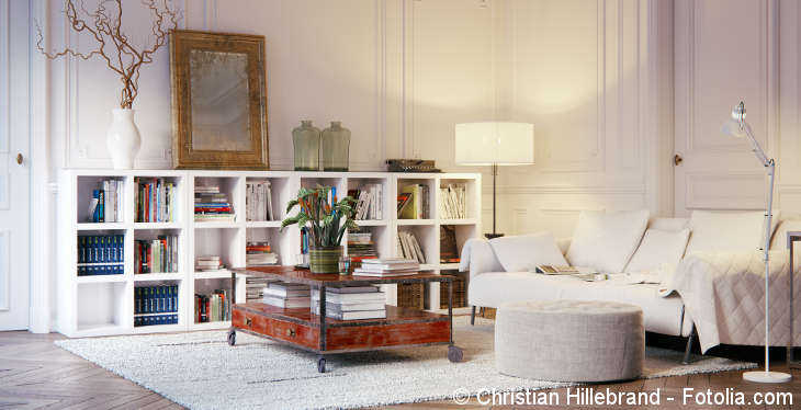 A big living room with a white sofa, a vintage coffee table, a white rug and shelves full of books